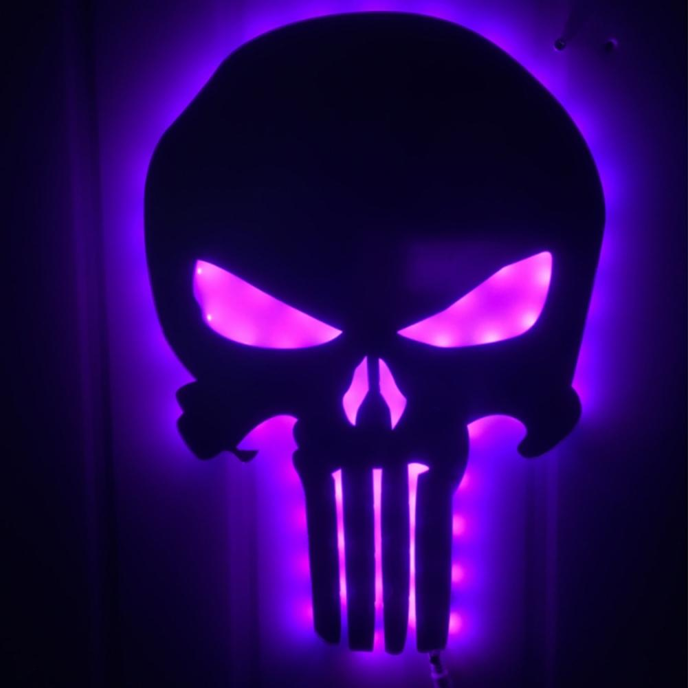 AKDSteel Skull Mirror Lamp 3D Colorful LED Night Light Halloween Home Decoration Wall Lamp halloween creativity 3d stereotophora pumpkin window decoration wall stickers