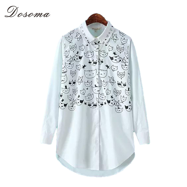 2016 Autumn Fashion Cotton Women's Shirt Cat Printing Female Blouses Long Loose Office Ladies Basic Wear Women Clothing Tops