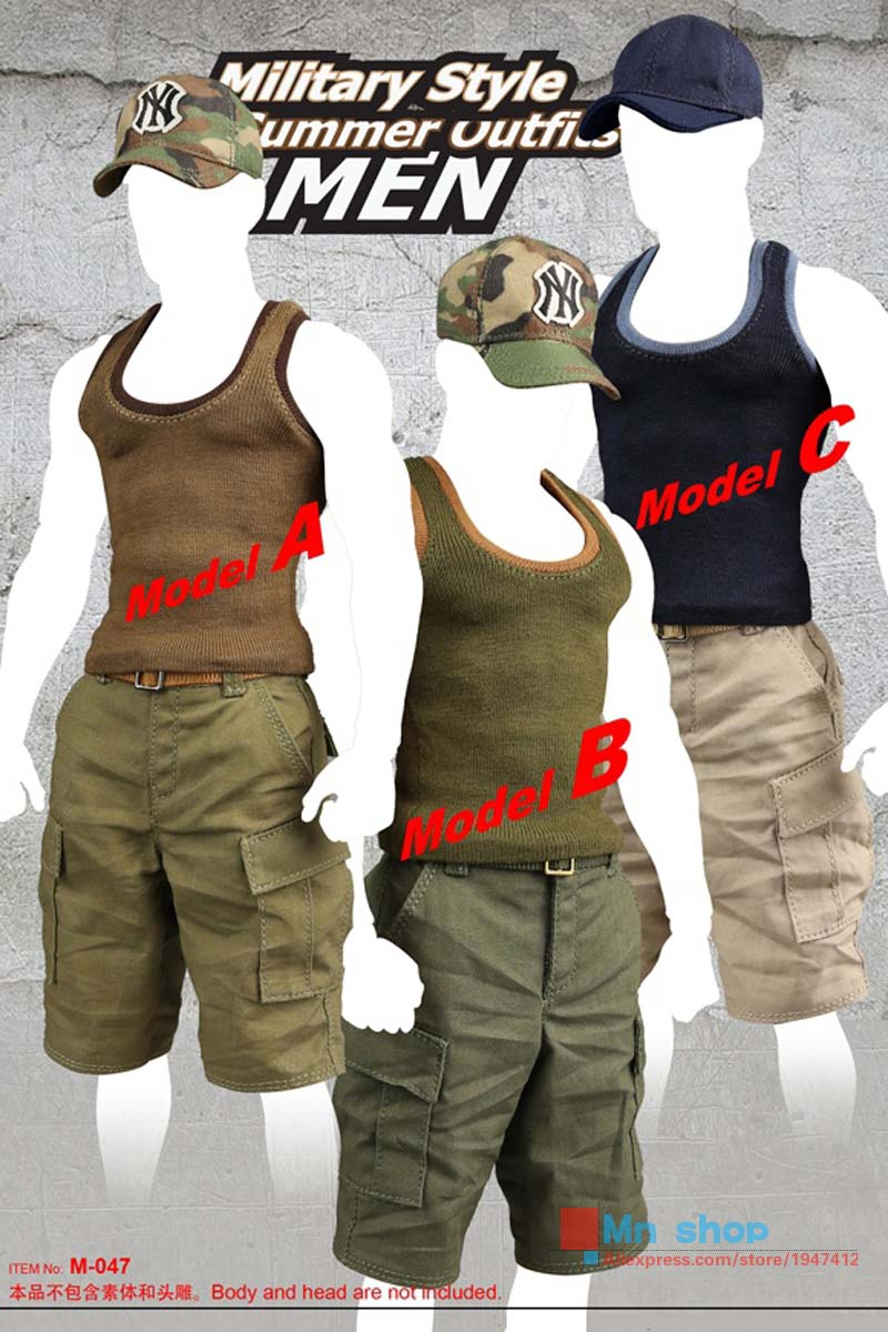 1/6 Scale Male Figure Military Style Summer Untfits For 12 Action Figure Model Toys Accessories Gift Collection P45 1 6 scale nude male body figure muscle man soldier model toys for 12 action figure doll accessories
