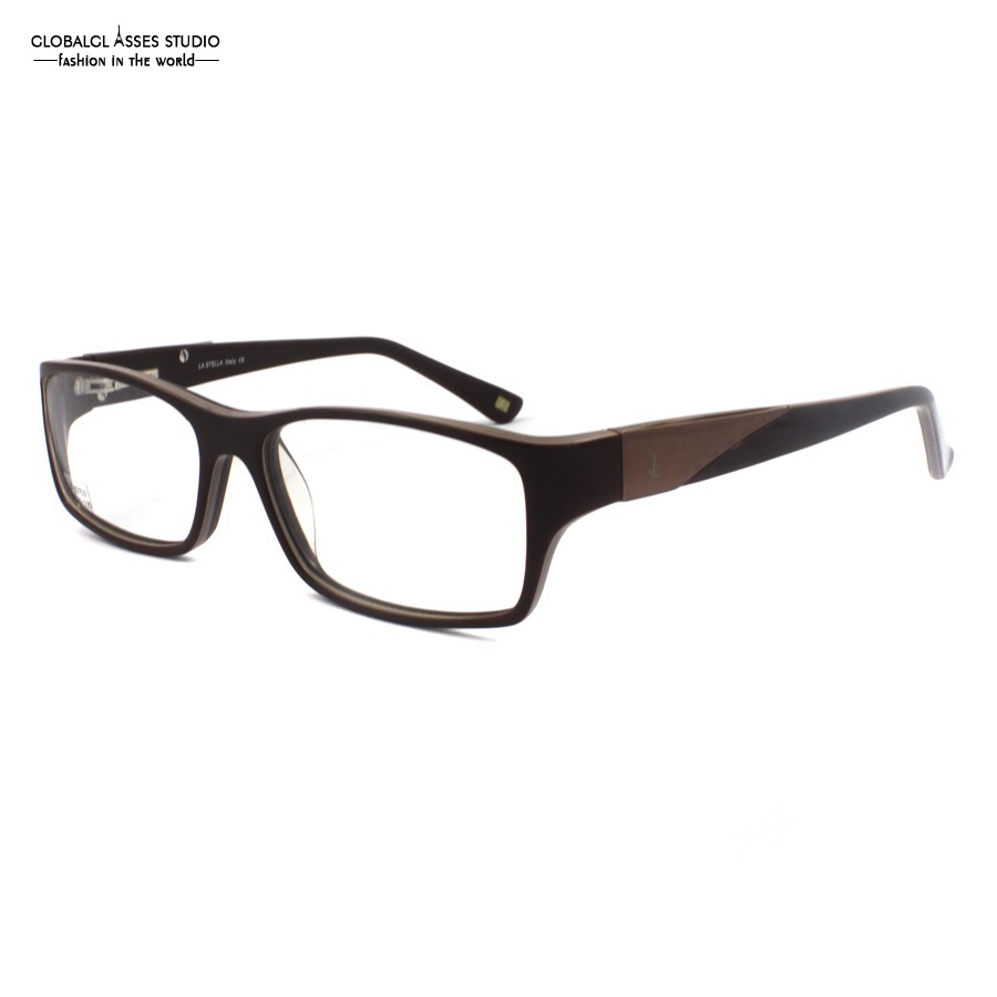 Business Oversized Big Square Lens Acetate Frame Men Brown & Black Spring Hinge Prescription Optical Eyeglasses LS-1211 9CX