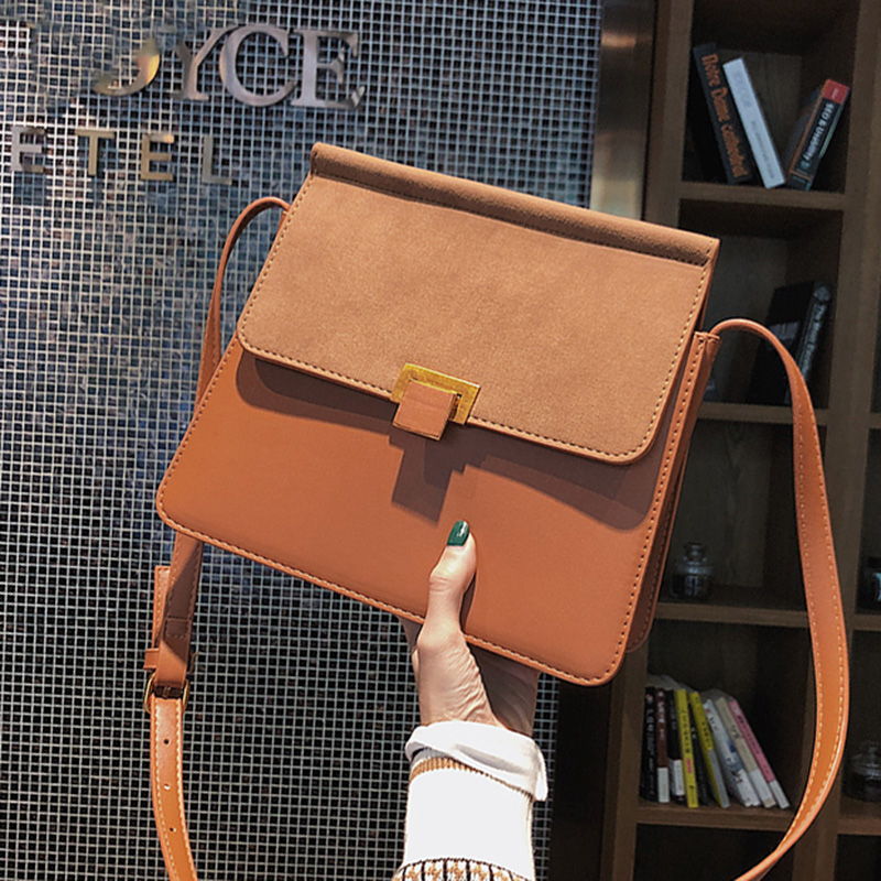 ETAILL 2018 Winter Women Classic Scrub+Box Leather Messenger Bag Female Crossbody Small Flap Bags Famous Stewardess Shoulder Bag 2017 summer metal ring women s messenger bags solid scrub leather women shoulder bag small flap bag casual girl crossbody bags