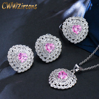 CWWZircons 8 Colors Option Top Quality Cute Pink Cubic Zirconia Women Engagement Fashion Brand Costume Jewelry