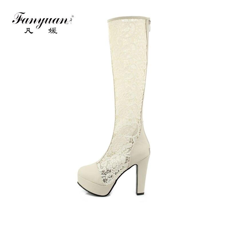 Fashion BeigeSchwarzWei High Spitze Kniehohe Sommer Damen Fanyuan Blume Schuhe 33 Gladiator Stiefel Plattform Dicke 43 Gre Heel Ib6yf7vYg