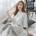 Maternity Nursing Pajamas Sets Half Sleeve Pattern Dress Striped Leggings 2 Pieces Home Clothes for Pregnant Women Sleepwear Set