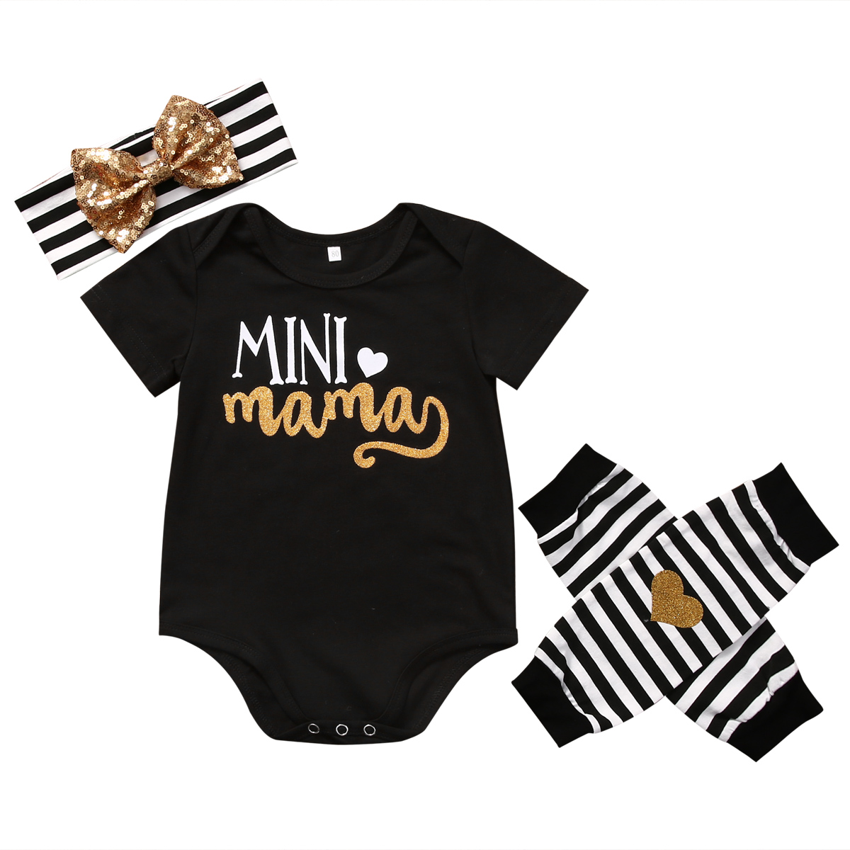 4PCS Set Newborn Baby Clothes Infant Bebes Short Sleeve Mini Mama Bodysuit Romper Headband Gold Heart Striped Leg Warmer Outfit pink newborn infant baby girls clothes short sleeve bodysuit striped leg warmers headband 3pcs outfit bebek clothing set 0 18m