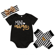 4PCS Set Newborn Baby Clothes Infant Bebes Short Sleeve Mini Mama Bodysuit Romper Headband Gold Heart Striped Leg Warmer Outfit(China)