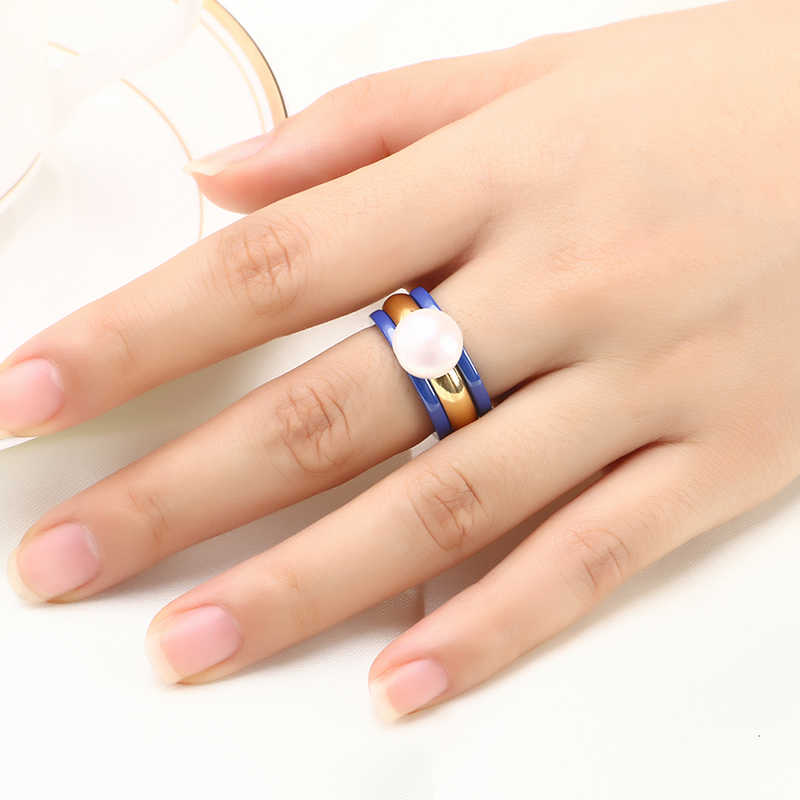 Wedding Party Fashion Jewelry 3pcs/Set With Big Simulated Pearl Gold Steel & Blue Ceramic Healthy Material For Women Jewelry