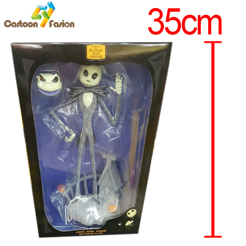ФОТО Jack Skellington Animation The Nightmare Before Christmas Henry Selick Tim Burton Movie Vinyl Action Figure 35cm