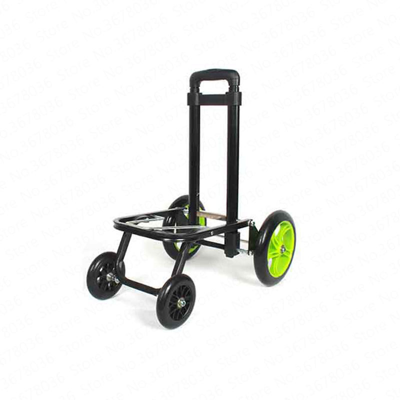 Shopping Cart Folding Portable Truck Trolley Increase Wheel Luggage Cart Four wheeled Cart Pull Goods Multifunction Four Rounds