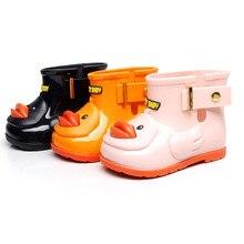 Маленькие Резиновые сапоги с желтой уткой; детская обувь; непромокаемые сапоги для маленьких детей; нескользящая обувь для дождливой погоды с изображением утки из мультфильма; галоши