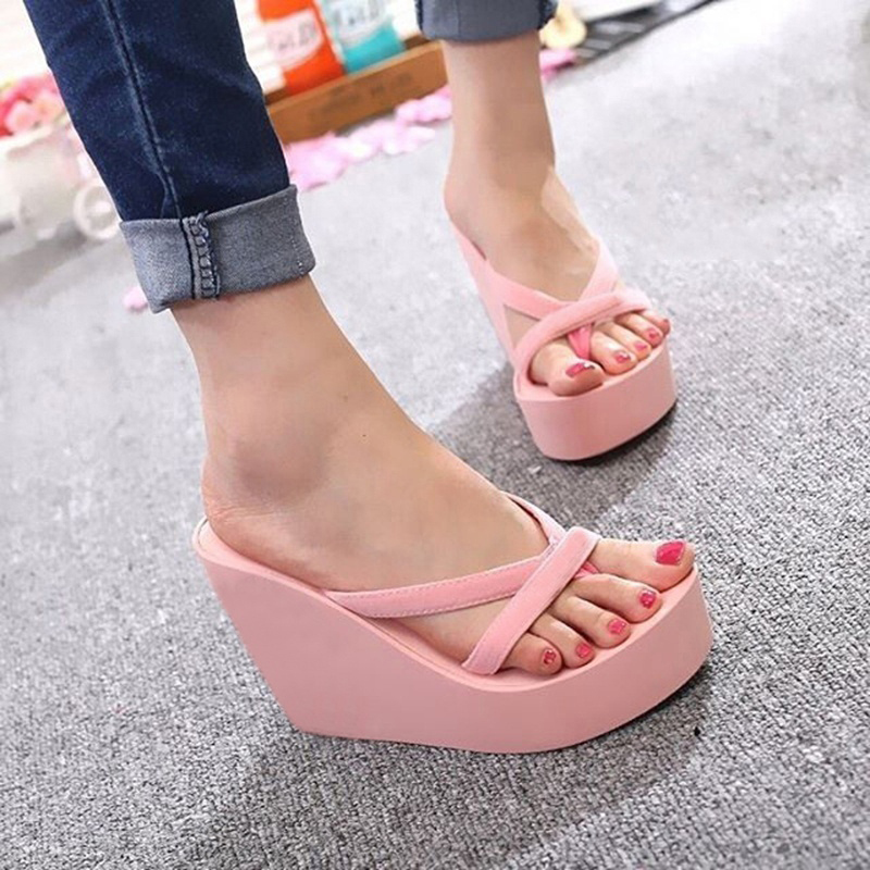 Oeak Fashion Sandals Wedge Eva-Shoes High-Heeled Thick-Bottom Beach-Flip-Flops Pink Female