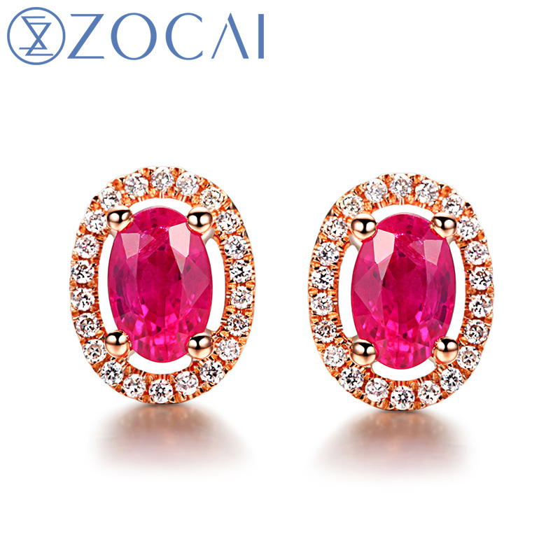 Zocai Oval Shape Genuine Ruby Gemstone 1 0 Ct Certified Stud Earrings With 15 Diamond 18k Rose Gold Au750 E00569 In From Jewelry