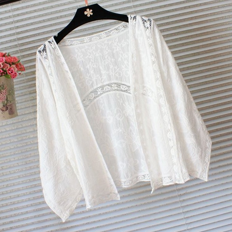 Summer Jackets Women Cotton Hollow out flowers Lace Shawl sunscreen ...