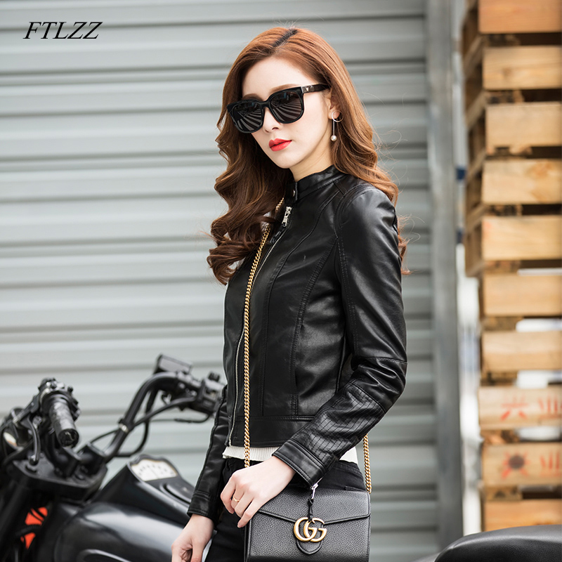 FTLZZ New Autumn Women PU   Leather   Jackets One Button Design Motorcycle Short Jacket Slim Basic Outwear Bomber   Leather   Coat