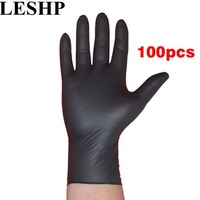 LESHP 100pcs Lot Disposable Mechanic Gloves Household Cleaning Washing Black Nitrile Laboratory Nail Art Anti Static