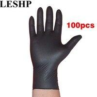 LESHP 100pcs Lot Disposable Mechanic Gloves Household Cleaning Washing Black Nitrile Laboratory Nail Art Anti Static
