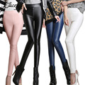 Women Fashion Winter Autumn Women Pants Mid Waist Velvet PU Leather Pencil Pants Slim Skinny Full Length Flat Capris