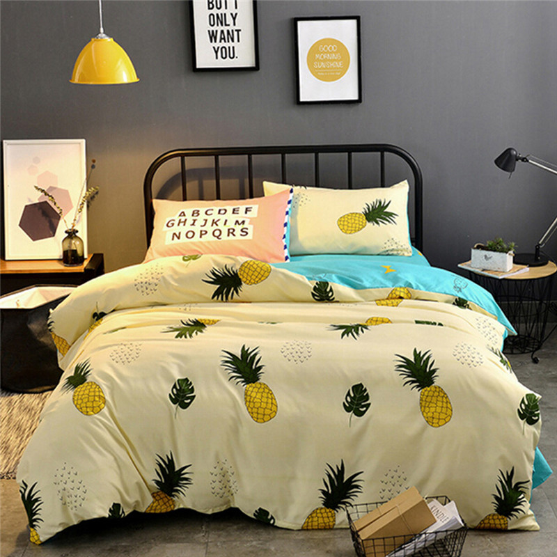 coxeer Cartoon Bedding Set Pineapple Patterns Polyester Duvet Cover Quilt Cover With Bedsheet Pillowcase Comforter Bedding Sets