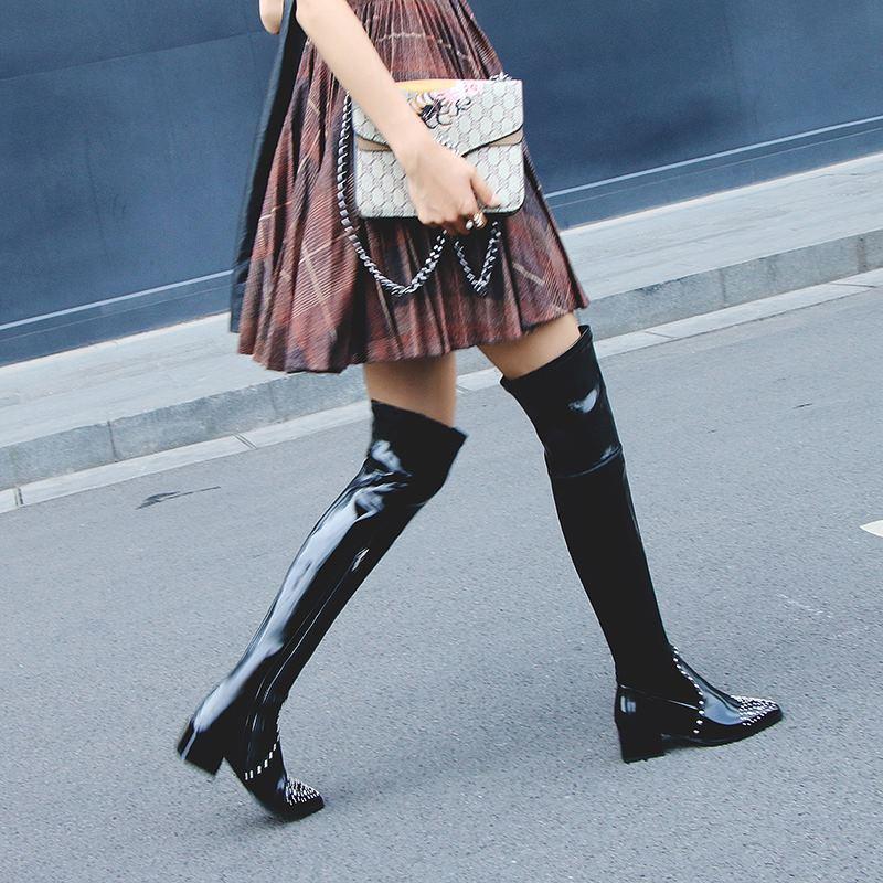 Conception Longues Filles Rivets Sexy Chaussures Allbitefo Femmes Mode Matériau Marque De Noir Élastique Dames Genou Sur Bottes Le wPq7a1P