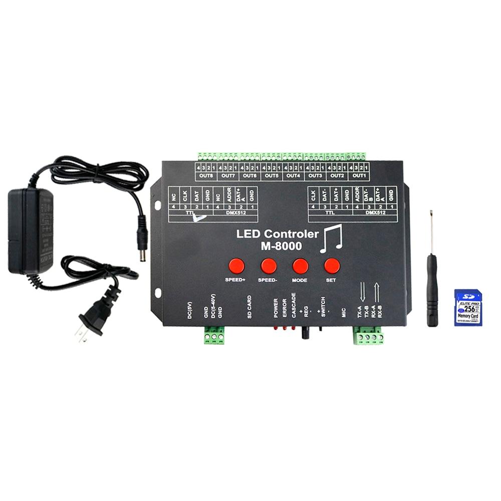 Contrôleur WS2812 contrôleur de musique Led M-8000 8096 Pixel contrôleur RGB pour WS2812B WS2801 SK6812 Module de bande Led JQ