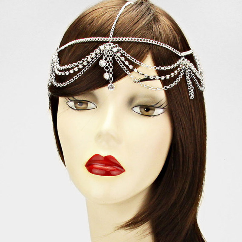 Us 3 96 20 Off Crystal Women Forehead Head Chain Headpiece Rhinestone Teardrop Tiara Bridal Wedding Decoration Hair Indian Jewelry In