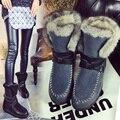 2017 niñas de cuero genuino de la vaca Real de piel de zorro conejo grande altos cargadores de la nieve para las mujeres botas de invierno zapatos de los planos calidad