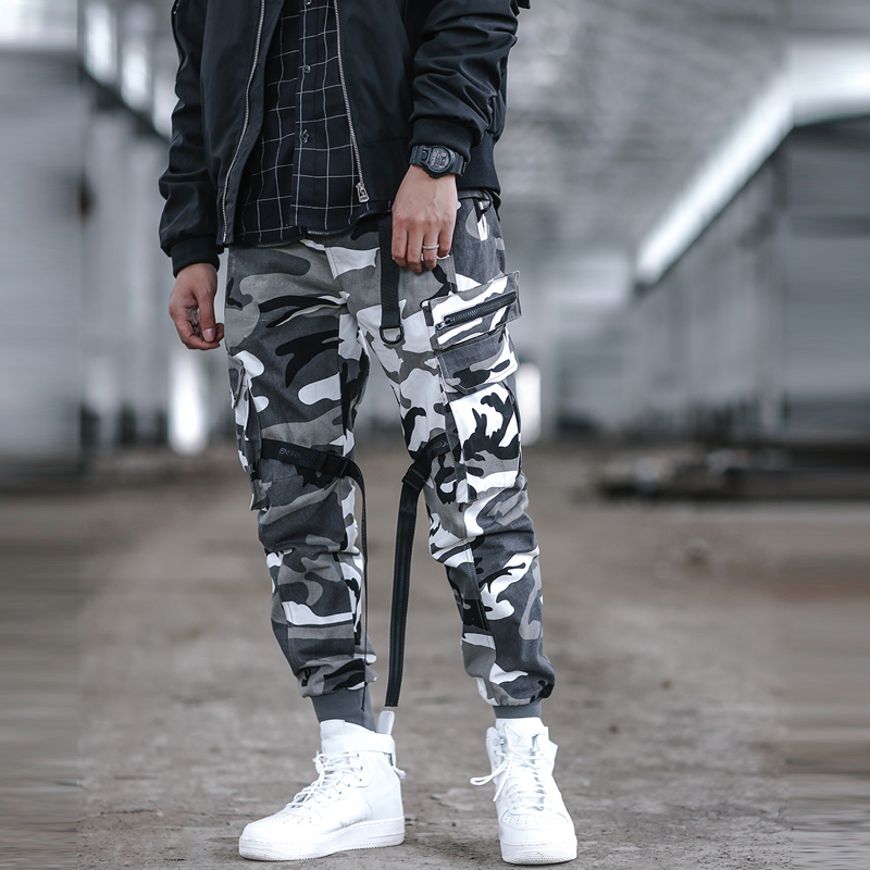Hip Camuflaje Hombres Elástica Los Carga Cinta camouflage Pantalones Multi Algodón Pantalón Camisetas Hip De Streetwear Cintura Black bolsillo R0fxS