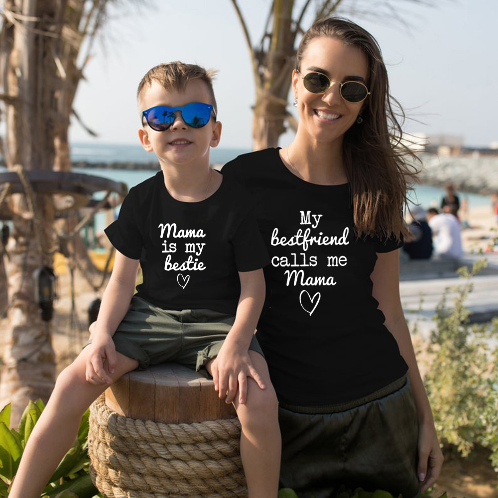 Mama Is My Bestie Matching Tshirts Mommy & Me Tee Mom Life Kid Life Mamas Mini Matching Mum Daughter Son TShirts Outfits
