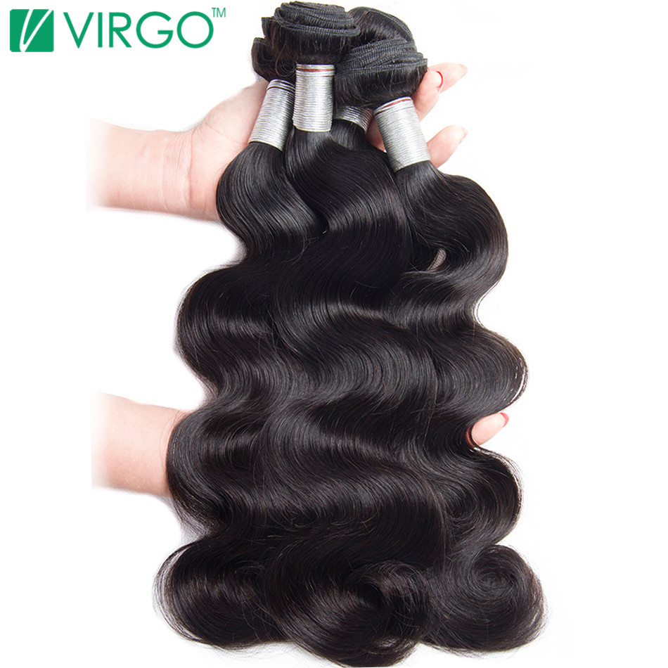 Volys Virgo Hair Products Brazilian Body Wave Hair Bundles Human Hair Weave Bundles Remy Hair Natural Black 1 Piece