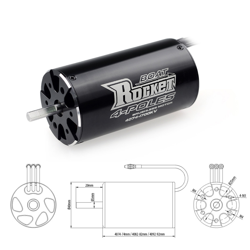 Image 3 - SURPASSHOBBY Rocket 4074 2250KV 2000KV 1700KV 4P Brushless Motor for Traxxas M41 Catamaran Spartan 1000mm(or Above) RC Boat Car-in Parts & Accessories from Toys & Hobbies