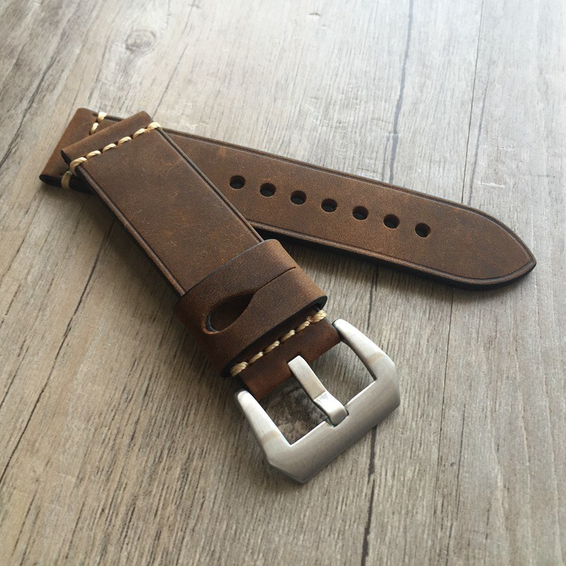 New design High quality Genuine Leather watchband with stainless steel buckle for fossil