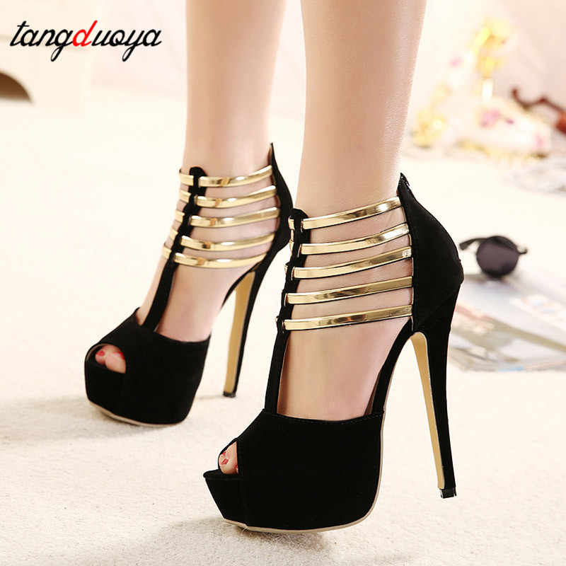ab60126044 Sexy High Heels Women Shoes Platform Peep Toe Wedding Shoes Women Pumps  Black Red Shoes Woman