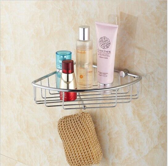 ФОТО top high quality total brass material chrome bathroom corner shelves basket holder bathroom soap holder bathroom accessories