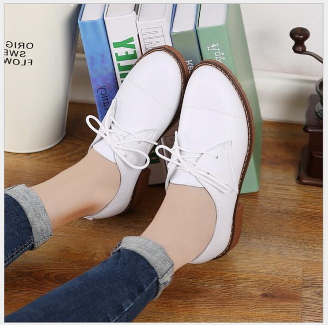 75a04b3a41475 Sonbahar Kış Kadın Ayakkabı Hakiki Deri Oxford Ayakkabı Lace Up anne ayakkabısı  rahat kadın ayakkabısı