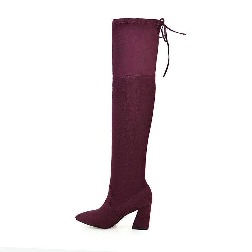 Flock Leather Over The Knee Boots Lace Up Sexy High Heels Autumn Winter Women Shoes 50