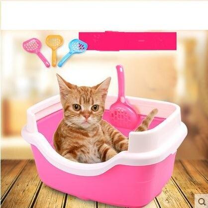 Полузакрытый бассейна кошачьих туалетов для домашних животных кошачий Туалет Размеры: 41*30*21 см