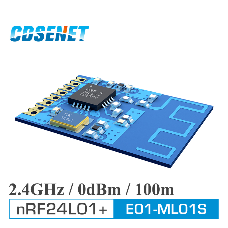 imágenes para nRF24L01+ 2.4G SPI E01-ML01S SMD Wireless Transceiver RFID Module CDSENET 100m 2.4GHz Wireless nRF24L01 PA rf