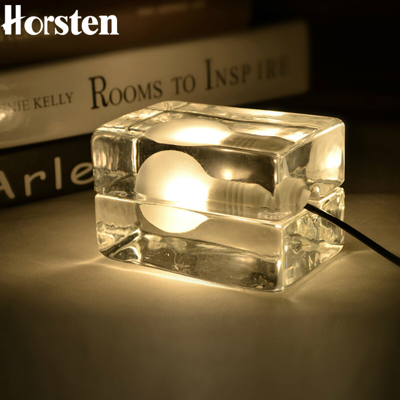 ФОТО Horsten Creative Glass Table Lamp 220V Ice Cube Lamp Modern Block ice Cubes Table Bedside lamps For Bedroom, Study, Coffee Shop