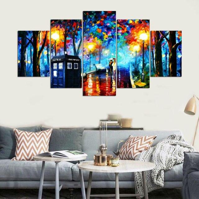 Modern Bingkai Gambar Hd Cetak Kanvas Pada Lukisan Dinding 5 Panel Untuk Ruang Tamu Cuadros Pecinta