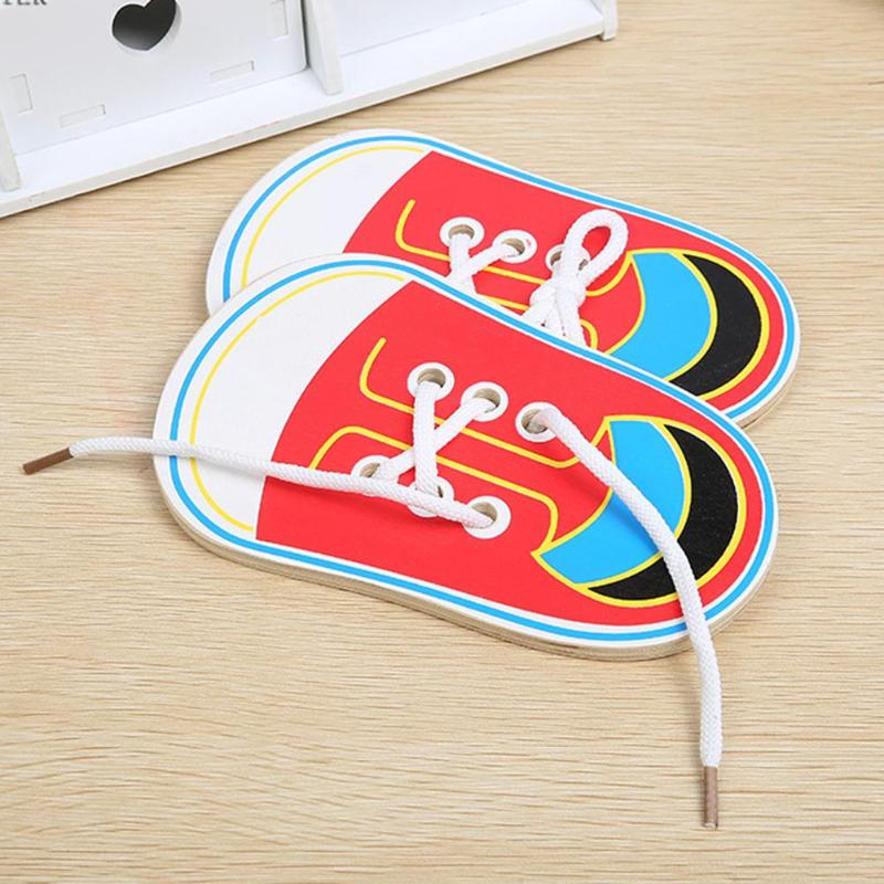 1PC Kids Cute Wooden Shoes Clothes Puzzles Toys Children Montessori Early Learning Tie Shoelaces Puzzles Wood Beads Lacing Board(China)