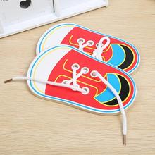 1PC Kids Cute Wooden Shoes Clothes Puzzles Toys Children Montessori Early Learning Tie Shoelaces Wood Beads Lacing Board