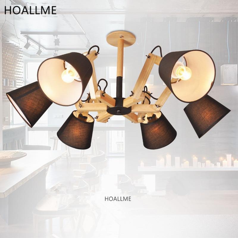 moderno estilo pulpo ajustable brazo de madera led luces de techo para comedor dormitorio sala de
