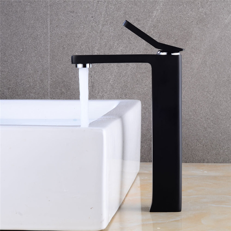 Bathroom Basin Faucet Black Finish Brass Sink Mixer Tap Single Handle Water Tap Washbasin Faucet Hot&Cold Crane Elegant Torneira bathroom products soild brass gold finish sink faucet single lever black waterfall tap tall water mixer torneira banheiro