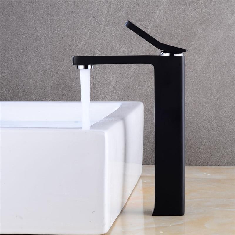 Bathroom Basin Faucet Black Finish Brass Sink Mixer Tap Single Handle Water Tap Washbasin Faucet Hot&Cold Crane Elegant Torneira