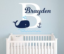 Cute Animal Personalized Name Wall Sticker Children Nautical Whale With Initial Bedroom Decoration W489