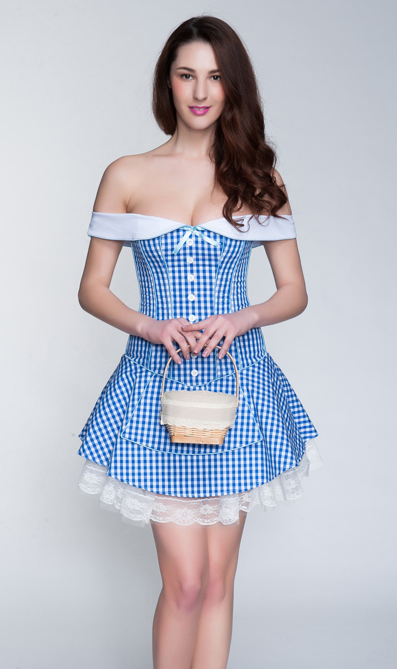 MOONIGHT Sexy Suit Blue With Strap Lace Up Maid   Corset   Dress Steampunk S M L XL XXL Size
