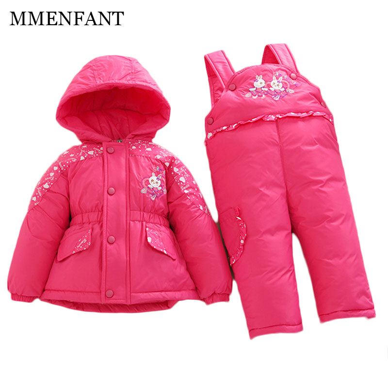 Girls winter coats Children down jacket baby infants clothes thick winter Cartoon rabbit warm jacket+pants Jumpsuit ski suit down the rabbit hole