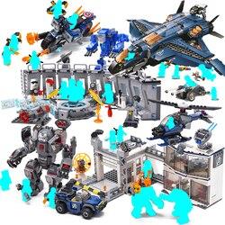Super heróis homem de ferro thanos hulk spiderman blocos de construção tijolos 76131 super-heróis marvel avengers 4 endgame menino brinquedos