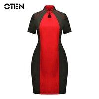 OTEN China cheongsam Stil Frauen lothing plus größe 6XL Sommer kurzarm rot schwarz kontrast farbe Elegante Damen pinup kleid