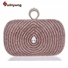 New Luxury Crystal Women Handbag, Peacock Feather Pattern Full Diamond Party Clutch. Shoulder Messenger Chain Evening Bag